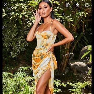 Orange Tie Dye Ruched Side Midi Skirt US Size 8